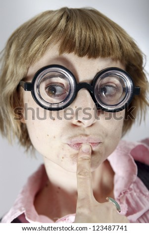 Portrait of a young and smart woman - stock photo