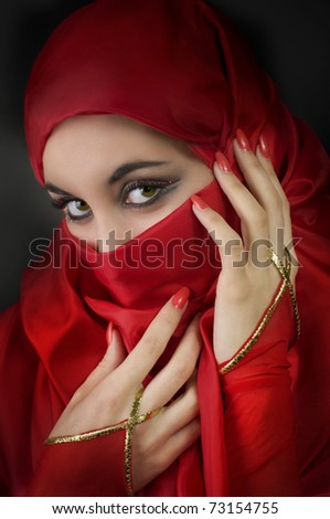 Portrait of a young arabian beauty - stock photo