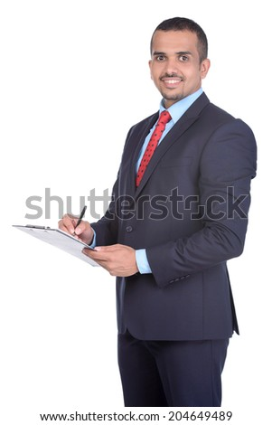 Portrait of a young Asian businessman, isolated on white background - stock photo