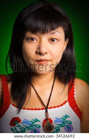Portrait of a young Asiatic woman with a piercing