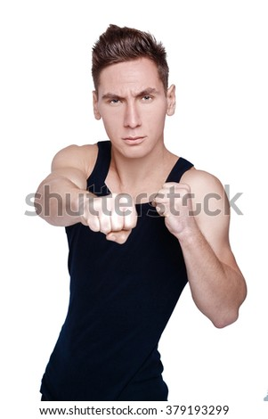 portrait of a young athlete. an attractive man  fights
