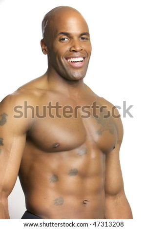 Portrait of a Young Attractive African American Man Isolated on white - stock photo