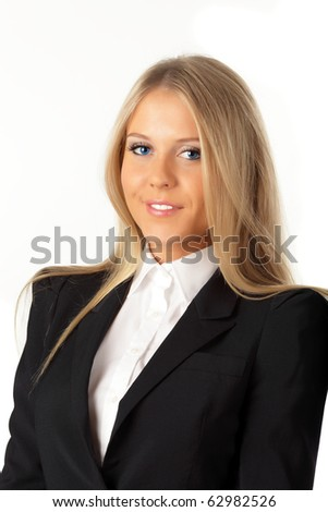 Portrait of a young attractive blonde business woman with blue eyes.
