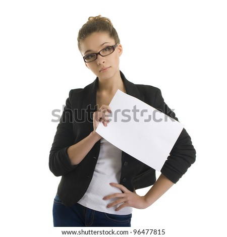 Portrait of a young attractive business woman holding folders - stock photo