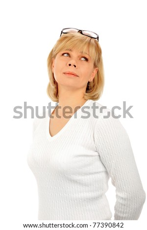 Portrait of a young attractive business woman. Isolated on white background - stock photo