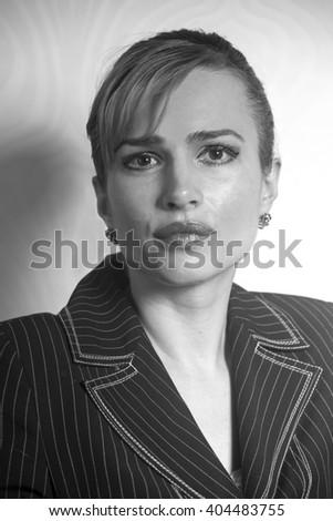Portrait of a young attractive business woman.Monochrome portrait - stock photo