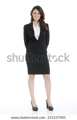 Portrait of a young attractive business woman on white background