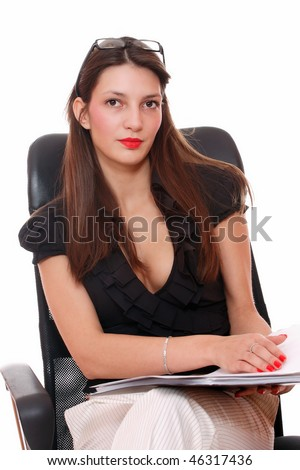 Portrait of a young attractive business woman over white background