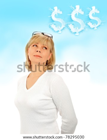 Portrait of a young attractive business woman. Planning money income - stock photo