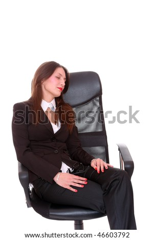 Portrait of a young attractive business woman sleeping  over white background