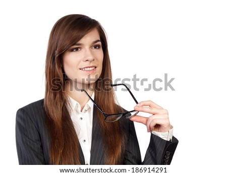 Portrait of a young attractive business woman with glasses in the hand - stock photo