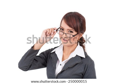 Portrait of a young attractive confident business woman, catch glasses