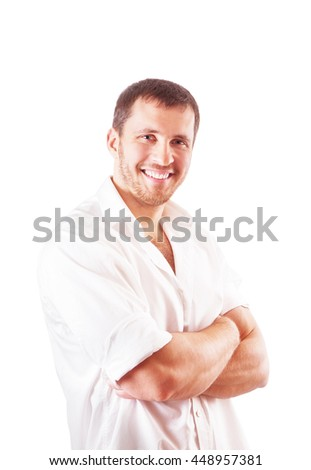 Portrait of a young attractive man in shirt isolated on a white background - stock photo