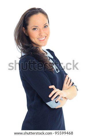 Portrait of a young attractive woman - stock photo