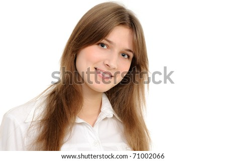 Portrait of a young attractive woman over white background - stock photo