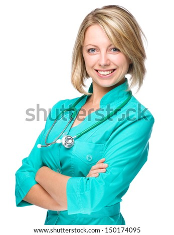 Portrait of a young attractive woman wearing doctor uniform, isolated over white