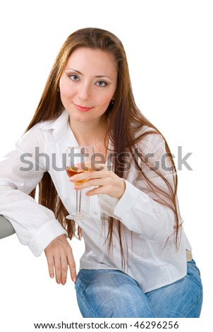 portrait of a young attractive woman with long hair, holding a wine glass. Isolated on white background