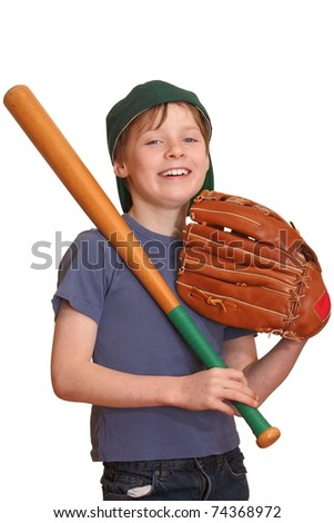 Portrait of a young baseball player - stock photo