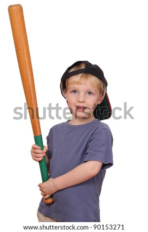 Portrait of a young baseball player holding a bat and wearing a cap - stock photo