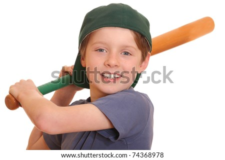 Portrait of a young baseball player swinging his bat - stock photo