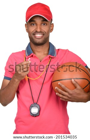 Portrait of a young basketball coach, isolated on a white background - stock photo