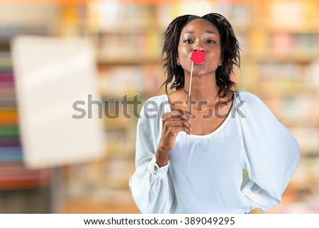 Portrait of a young beautiful african american woman - stock photo
