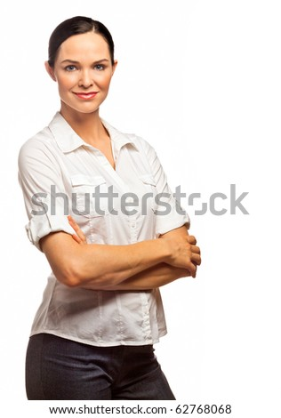 Portrait of a young beautiful and confident business woman. Isolated over white - stock photo