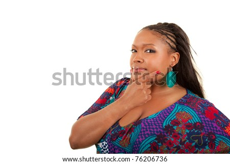 Portrait of a young beautiful black woman thinking, isolated on white background