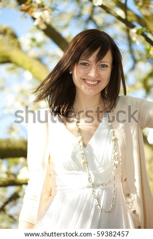 portrait of a young beautiful bride - stock photo