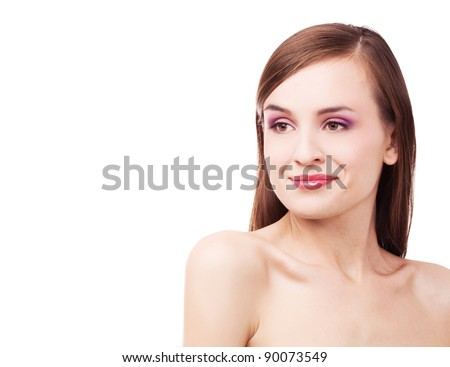 portrait of a young beautiful brunette woman, isolated against white background - stock photo