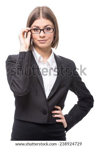 Portrait of a young, beautiful business woman, isolated on a white background. - stock photo