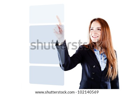 Portrait of a young beautiful  business woman pressing on a virtual button interface (concet pt)