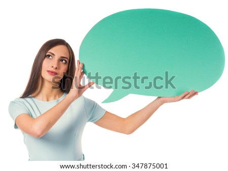 Portrait of a young beautiful business woman with a space for dialogue is isolated on a white background - stock photo