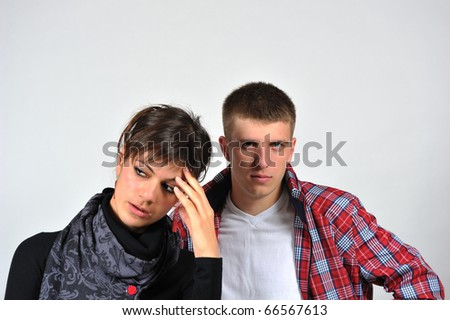 Portrait of a young beautiful couple - stock photo