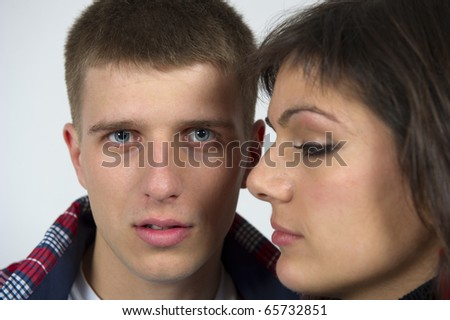 Portrait of a young beautiful couple, attractive people - stock photo