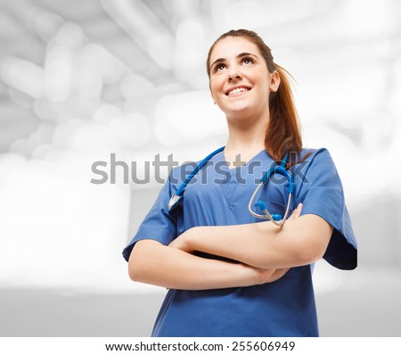 Portrait of a young beautiful nurse - stock photo