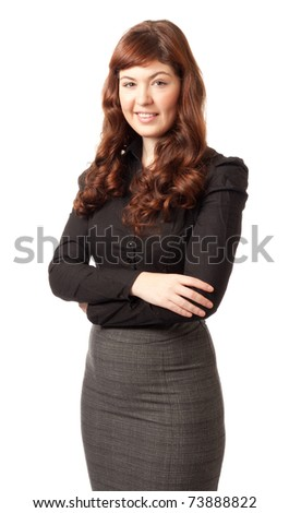 Portrait of a young beautiful red hair business woman against white background
