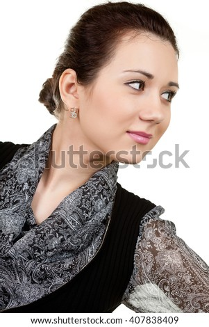 Portrait of a young beautiful woman. - stock photo