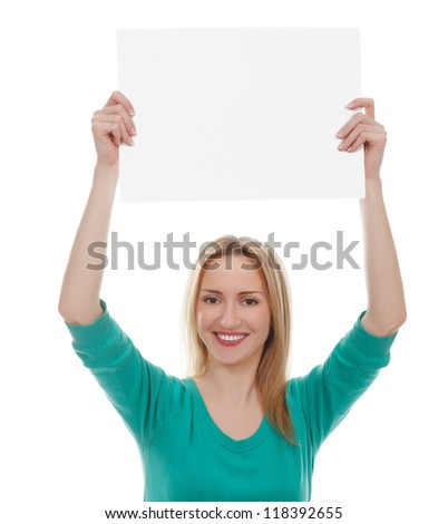 Portrait of a young beautiful woman holding a blank board, isolated on white background - stock photo