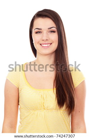 Portrait of a young beautiful woman in casual cloths. Isolated on white background