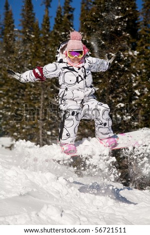 portrait of a young beautiful woman on the snowboard - stock photo