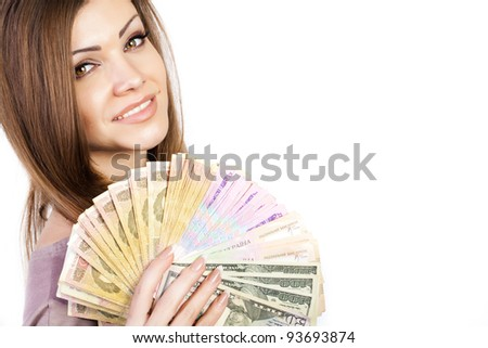 portrait of a young beautiful woman with money - stock photo