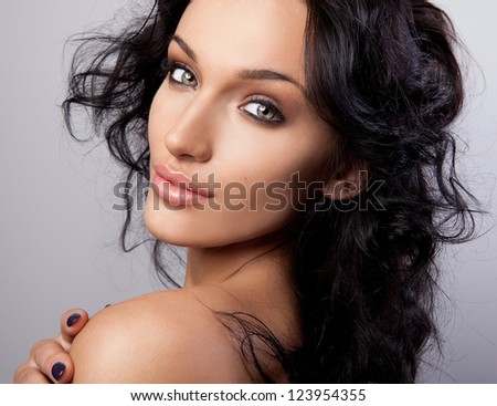 Portrait of a young beauty. Close-up Photo. - stock photo