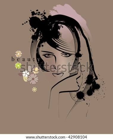 Portrait of a young beauty woman - stock photo