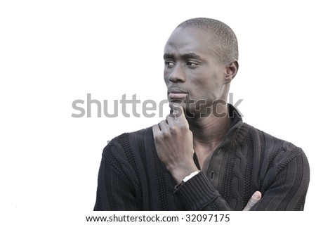 Portrait of a young black handsome man thinking. - stock photo