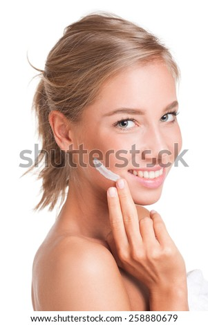 Portrait of a young blond cosmetics beauty. - stock photo