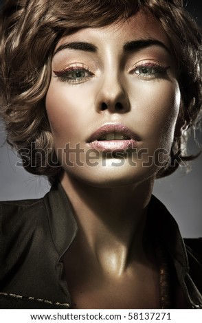 Portrait of a young  blonde beauty - stock photo