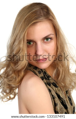 Portrait of a young blonde sexy girl. Isolated on white background - stock photo
