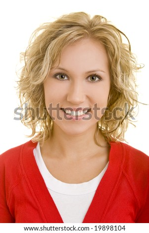 Portrait of a young blonde woman - stock photo