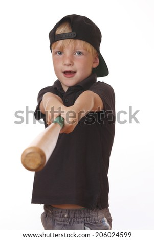 Portrait of a young boy holding a baseball bat on white background - stock photo